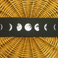 Phases of the Moon handmade screen printed back patch, white on black