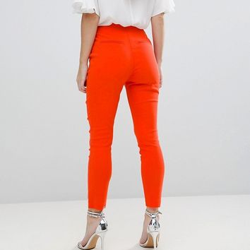 ASOS PETITE High Waist Pants In Skinny Fit at asos.com