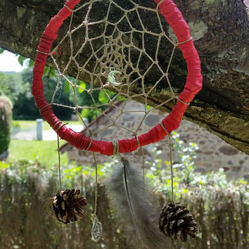 Pagan Dream Catcher, wicca dreamcatcher, wiccan dream catcher, Native American inspired pagan home decor, traditional folk magic,