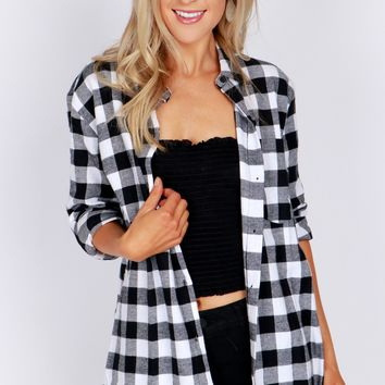 Plaid Flannel Shirt Black/White