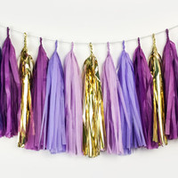 Oh My Glob - Purple, Lavender, Plum, Gold Tassel Garland - Party Decoration // Wedding Decor // Photo Booth Backdrop
