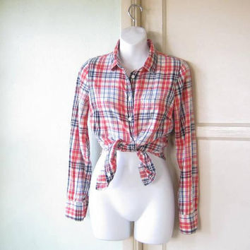 Classic Women's Flannel Shirt in Red/Cream/Blue Plaid; Women's Small Vintage '80s J Crew Cotton Long-Sleeve Top; U.S. Shipping Included