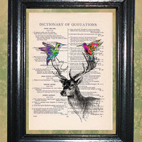 Hummingbirds on the Antlers of a Deer - Vintage Dictionary Book Page Art Beautiful Upcycled Page Art Wall Decor Art Print
