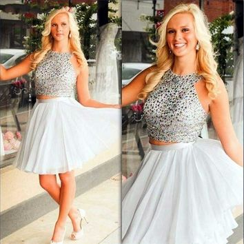 Gray Two Pieces Beadings Homecoming Dress