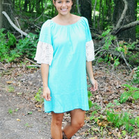 Touch of Lace Dress in Mint