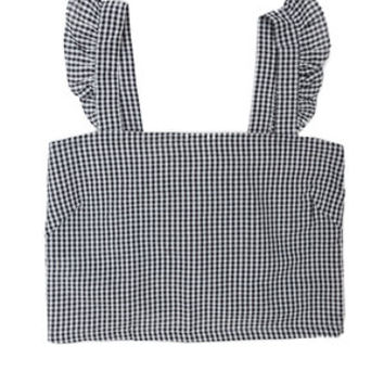 Summer Gingham Ruffle Top - Black & White Check