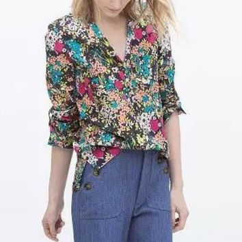Floral Print V-Neck Long-Sleeve Chiffon Blouse
