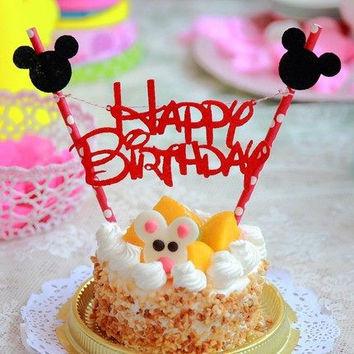 Mickey Mouse Happy Birthday Letter Garland Cake Topper Bunting