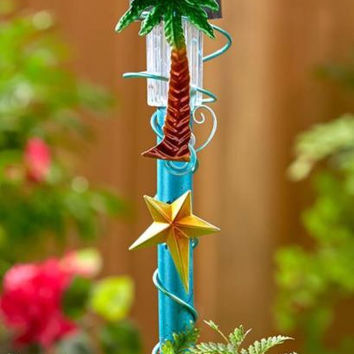 Solar Stake Palm Tree Lawn Garden Yard Path Walkway Marker Decor Tropical Ocean
