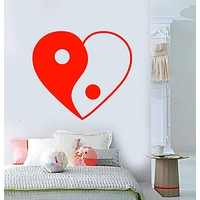 Vinyl Wall Decal Heart Love Symbol Yin Yang Buddhism Stickers Unique Gift (2100ig)