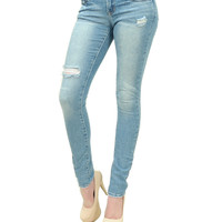 Cut my knees distressed slim skinny jeans Just USA