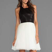 Alice + Olivia Ginnifer Leather Top T-Back Party Dress in Black from REVOLVEclothing.com
