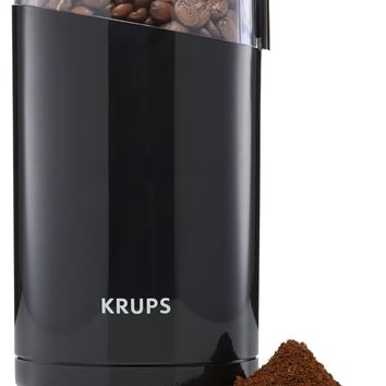 KRUPS F203 Electric Spice and Coffee Grinder with Stainless Steel Blades 3-Ounce Black Blade Grinder