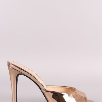 Qupid Metallic Peep Toe Stiletto Mule