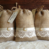 10 lace covered burlap Personalised favor bags, wedding, bridal shower, engagement, anniversary or party favor bags