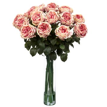 Artificial Flowers -Fancy Pink Rose Flower Arrangement Silk Flowers