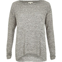 River Island Womens Grey handkerchief hem top