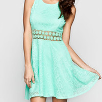 Full Tilt Crochet Inset Lace Overlay Dress Mint  In Sizes