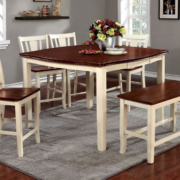 Furniture of america CM3326WC-PT-6PC 6 pc dover ii two tone vintage white cherry finish wood counter height dining table set