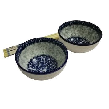 Finecasa 4.5 inch underglaze color Chinese Fine Porcelain Soup/Rice Bowls Blue Dream-B Series Set of 2 in a Gift Box
