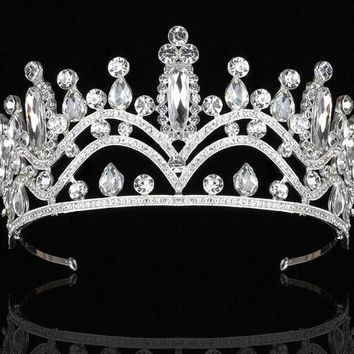 Crystal Large Queen Tiaras and Crowns Silver Color Bridal Hair Jewelry