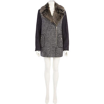 GREY COLOUR BLOCK TWEED FAUX FUR COLLAR COAT