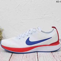 NIKE 2018 new men and women fashion knitted fly line shock absorber running shoes F-MLDWX white