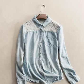 Spring and autumn new solid color cotton denim stitching lace long-sleeved shirt bottoming female