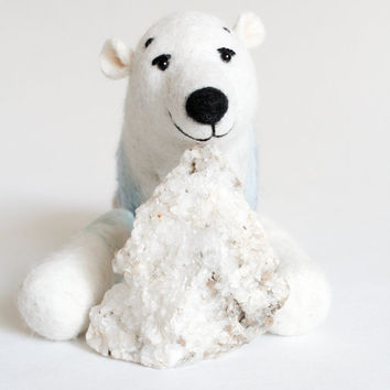 Mama Bear - Felt Polar Bear.  Ursa Major Constellation, Big Dipper,  Great Bear,  gift for kids Felted Toys, Night Sky. galaxy, stars.