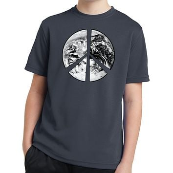 Buy Cool Shirts Kids Peace T-shirt Earth Satellite Symbol Youth Dry Wicking Tee