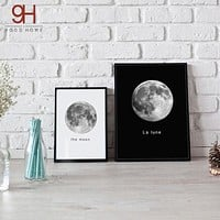 900D Wall Art Canvas Painting Wall Pictures For Living Room Nordic Decoration Moon Wall Decor S16001-1