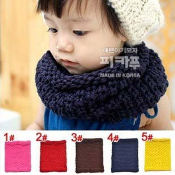 Simple Solid Color Design All Matching Crochet Baby Scarves Kids Winter Warm Scarf Collar