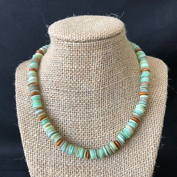 Green Shell Heishi and Wood Beaded Mens Necklace