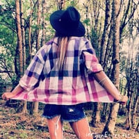 Upcycled Bleached Flannel Purple/Pink