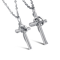 "UHIBROS His and Hers Couple Pendant ""Crosses"" Stainless Steel Couple Pendant ..."