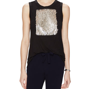 Fringed Sequin Embellished Sleeveless Top