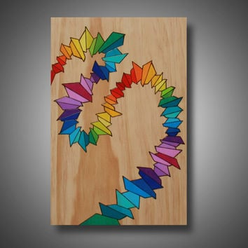 "Psychedelia: Original Abstract Modern Art - Pyrography - Colored with Prismacolor Pencils - 11.25"" x 17"""