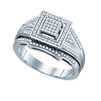 Diamond Fashion Bridal Ring in White Gold-plated silver 0.33 ctw