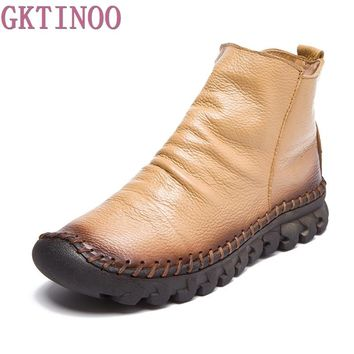 2018 Vintage Style Genuine Leather Women Boots Flat Booties Soft Cowhide Women's Shoes Zip Ankle Boots zapatos mujer
