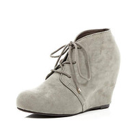 grey wedge ankle boots