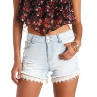 Crochet Trim High-Waisted Denim Shorts - Lt Wash Denim
