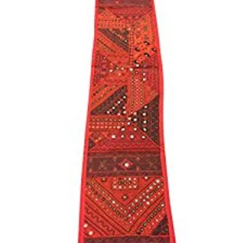 Mogul Red Table Throw Embroidered Handicraft Patchwork Traditional Indian Tapestry Table Runner