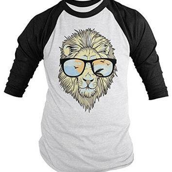 Shirts By Sarah Men's Hipster Lion 3/4 Sleeve T-Shirt Big Cat Shirts Summer Raglan Shirts