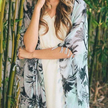 Sheer Mint Boho Beach Kimono Cardigan Cover Up