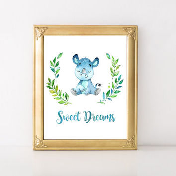 Sweet Dreams Print, Digital Print, Printable Art, Nursery Decor, Baby Print, Watercolor Print, Instant Download, Nursery Wall Art, Baby Art