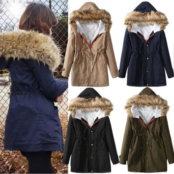 Women Thicken Warm Winter Coat Hood Parka Overcoat Long Jacket Outwear = 1930454148