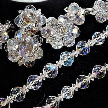 Aurora Borealis Cut Crystal Necklace Earrings Set Demi Parure 1950s 50s Mid Century Vintage Hollywood Wedding Jewelry Three Pair Earrings