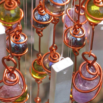 Windchime with Ametrine, Recycled Aluminum and Copper Wrapped Yellow & Iridescent Amethyst Cat's Eye Glass Marbles