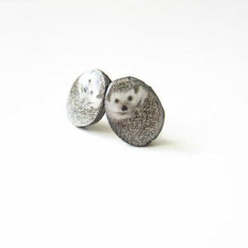 Cute  miniature kawaii hedgehog earrings