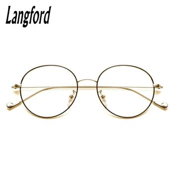 Langford brand vintage round optical frames big hipster glasses Slim light round eyeglasses frame gold prescription  2708